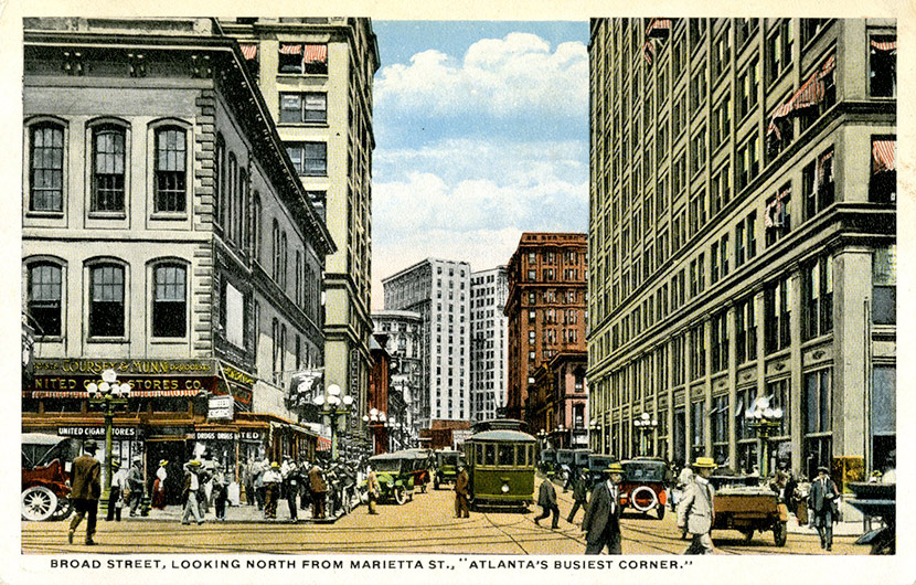 Atlanta's Busiest Corner – Broad Street, looking north from Marietta Street, ca. 1916.