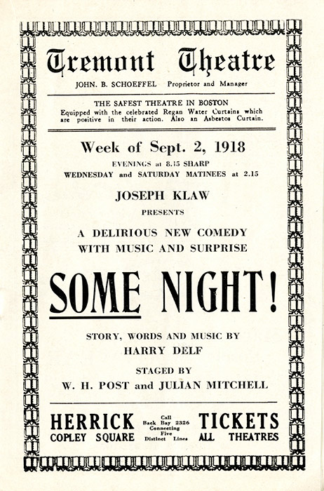 "A program for the musical comedy ""Some Night"" at Boston's Tremont Theatre.  Once the closure order went into effect, this and all other shows were put on hold, leaving Bostonians with few outlets for entertainment."