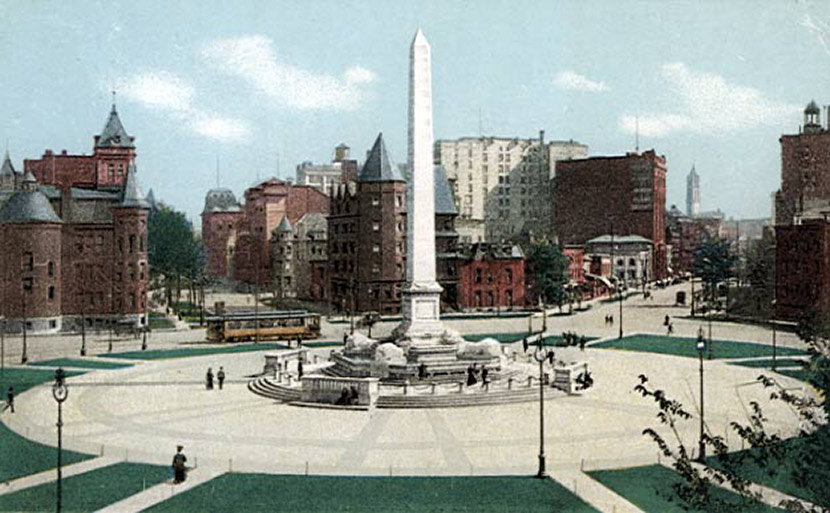 Niagara Square, with the old Central High School on the left, used as an emergency hospital during the epidemic.