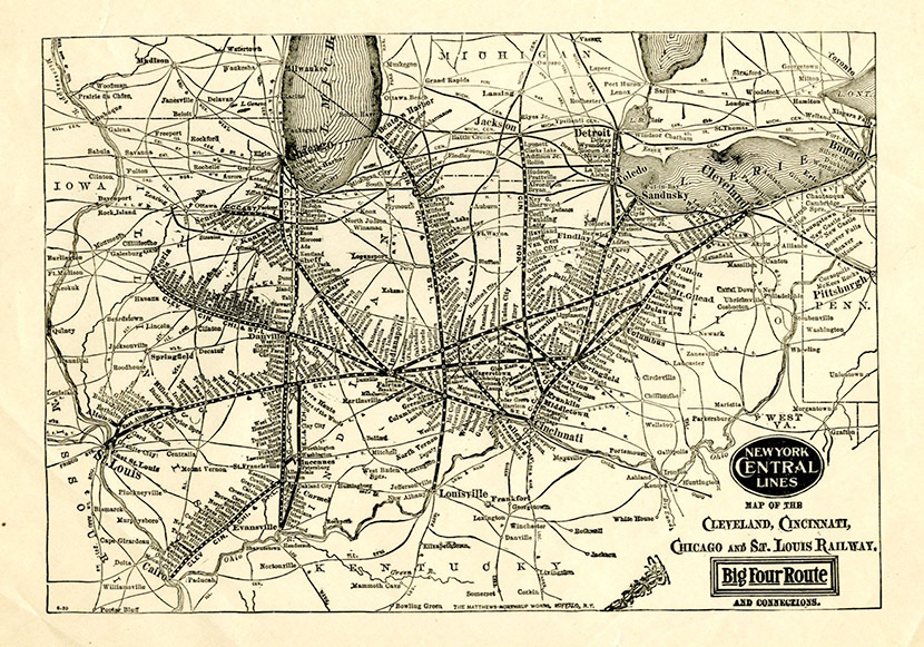 Map of the Cleveland, Cincinnati, Chicago and St. Louis Railway, showing the Windy City's connections to the rest of the Midwest and the nation.