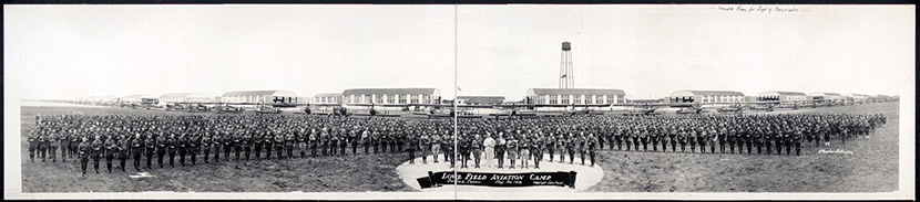 Love Field Aviation Camp, Dallas, on May 30, 1918. Four months later, the men at Love Field were placed under quarantine due to the raging influenza epidemic.