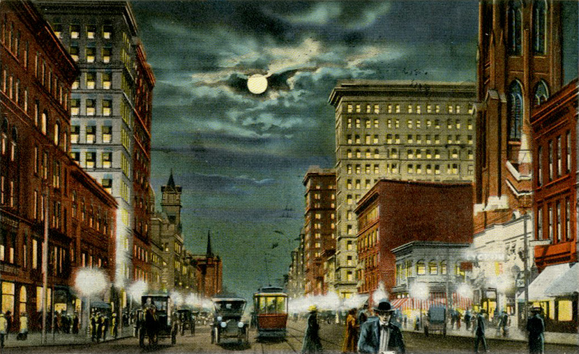 Main Street at night, looking north.