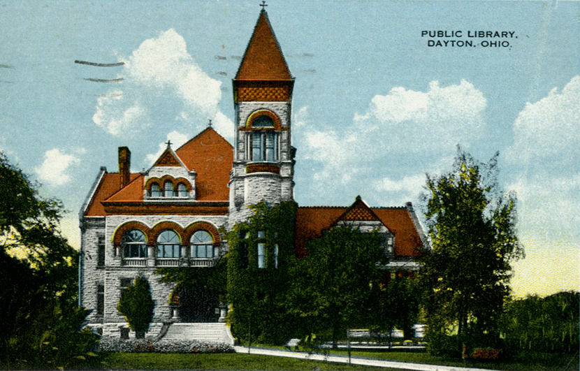 The Dayton Public Library. Built in 1888 at the corner of Third and Patterson, the limestone and red sandstone was building was torn down in 1962.