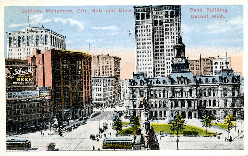 A view of Soldiers Monument, old City Hall, and the Dime Bank Building in Detroit's financial district. Soldier's Monument still stands at the southeastern edge of Campus Martius.  The old City Hall building was demolished in 1961. The Dime Building is now known as Chrysler House.