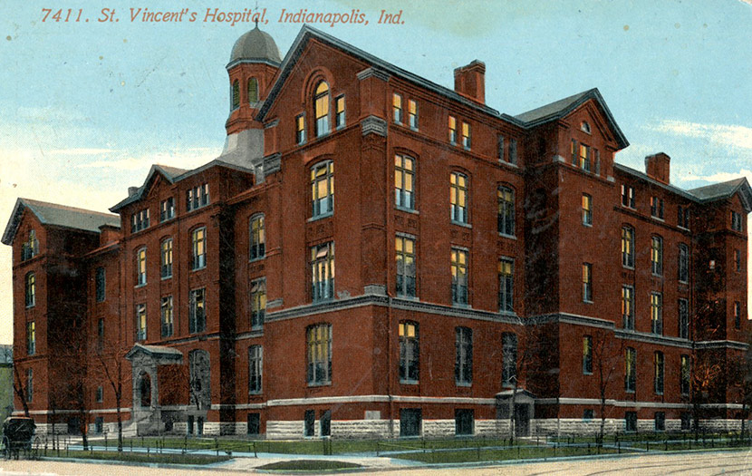 St. Vincent's Hospital, Indianapolis. At the time of the 1918 epidemic, the hospital was located on Fall Creek Drive.
