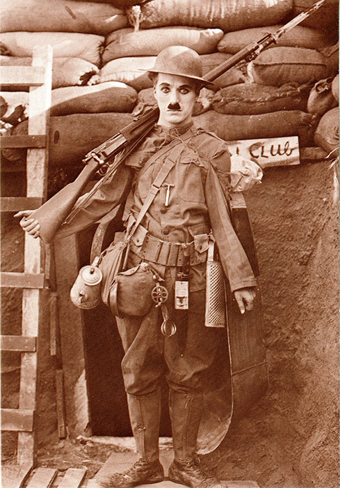 "Charlie Chaplin in his role of a World War I recruit who dreams of becoming a hero in ""Shoulder Arms."" The film was released in the fall of 1918, as American doughboys fought overseas and as the deadly influenza epidemic circulated the globe."