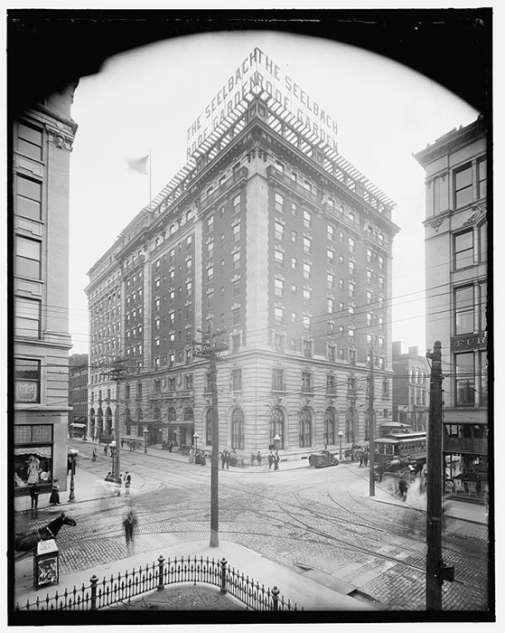 The Seelbach Hotel, circa 1905. During the deadly influenza epidemic, city and state health officials frequently met at the stately Seelbach to plan Louisville's public health response. It was also the site of Daisy's wedding in the famous F. Scott Fitzgerald novel The Great Gatsby.