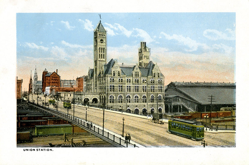 Nashville's Union Station, located just west of downtown at Broadway and 10th Ave. Built in 1900, the station served passengers traveling aboard the eight rail lines entering the city.