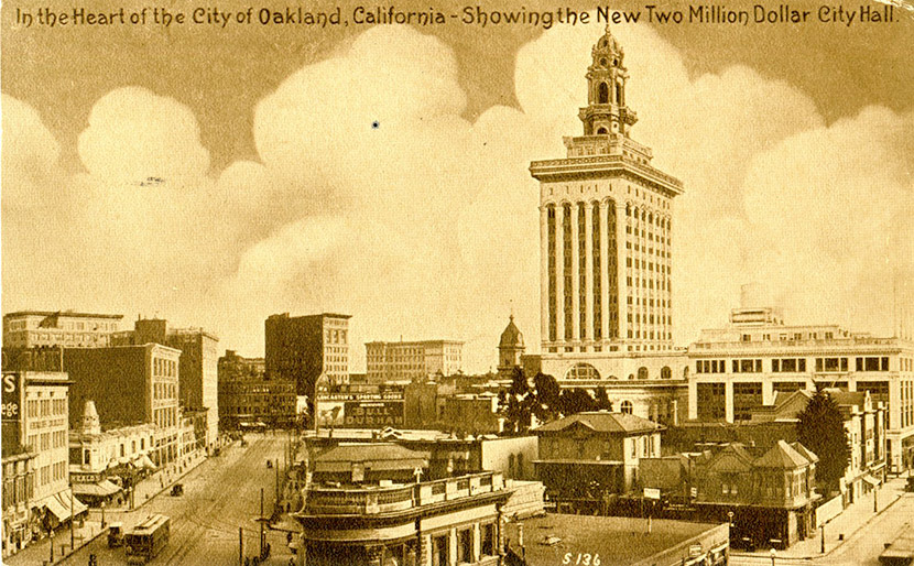 A view of City Hall and the surrounding area, Oakland. Built in 1914, it was the tallest building west of the Mississippi at the time.