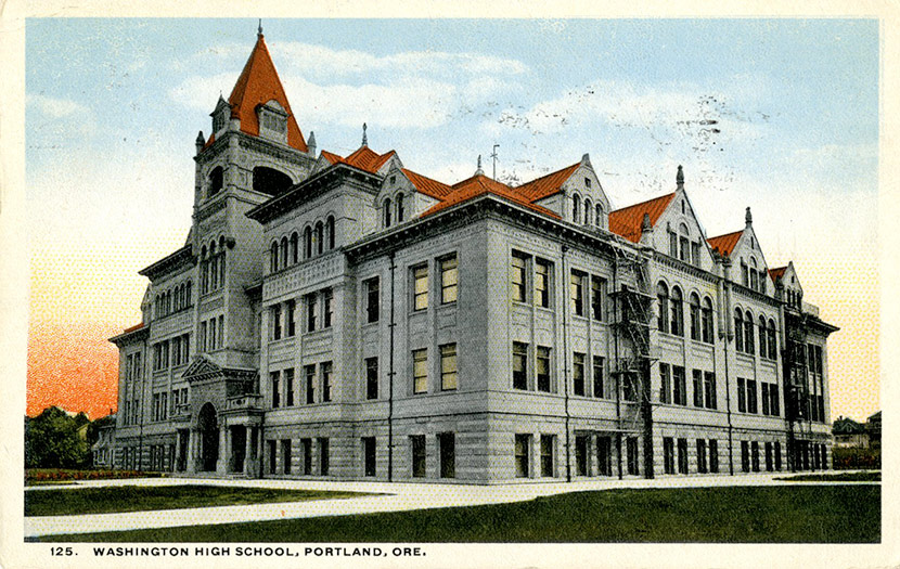 Washington High School in Portland, located at SE 14th and Stark. During the epidemic, Washington High, like the rest of the city's schools, was closed.
