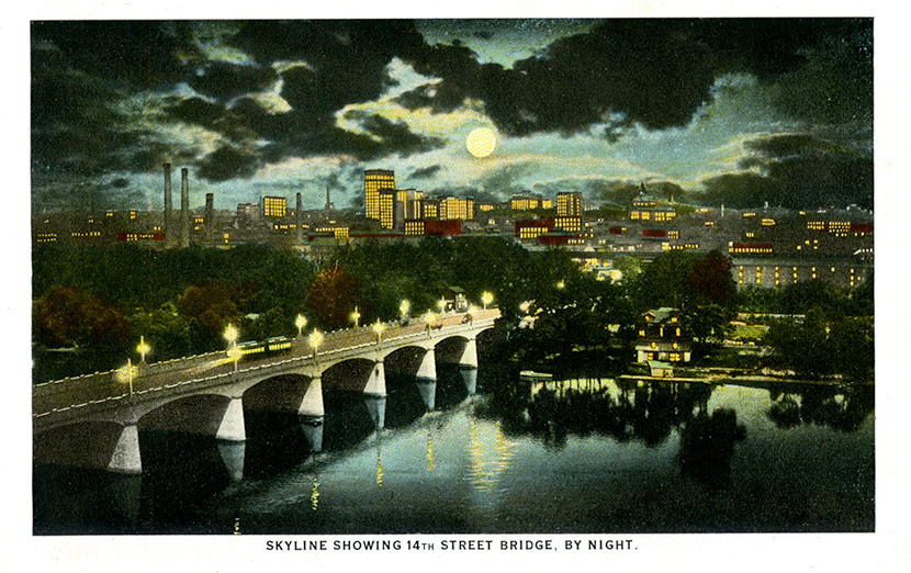 Richmond's nighttime skyline and the 14th Street Bridge.