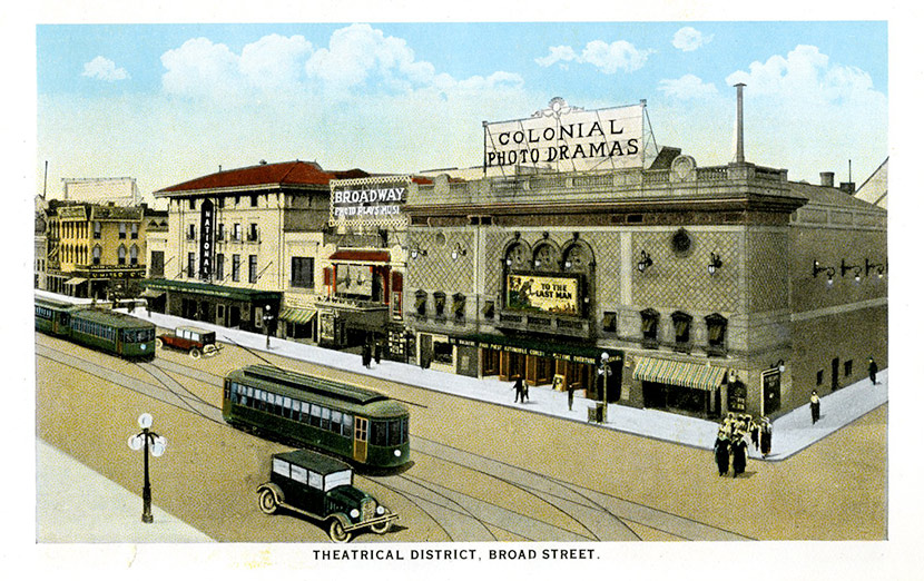 Richmond's theater district along the 700 block of Broad Street, then known then as Theatre Row. This postcard is from the 1920s, but the area would have looked much the same during the 1918 epidemic, when all theaters were closed.