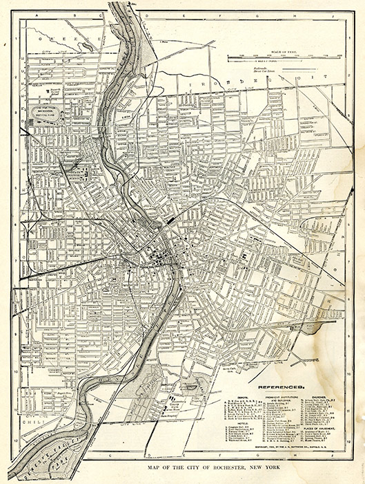 A 1904 map of Rochester, NY.