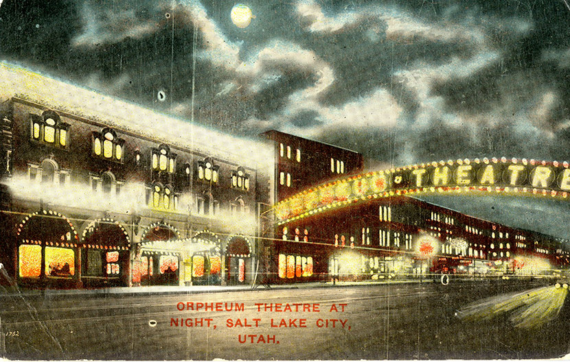 The Capitol Theatre (part of the Orpheum chain) at 50 W. 200 S. Street at night, illuminated by hundreds of light bulbs. The Italian Renaissance building was constructed in 1912 and still stands today. The theater was closed - along with all of Salt Lake City's other places of public amusement - for two months during the influenza epidemic.