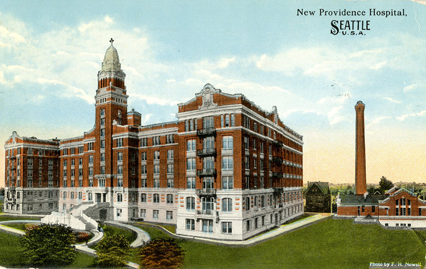 Providence Hospital on 17th and Jefferson Streets on Renton Hill. The hospital could accommodate 300 patients. It is now part of Swedish Medical Center, Cherry Hill Campus.