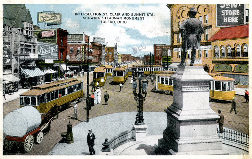 The busy intersection of St. Clair and Summit Streets in downtown Toledo. Today, the Steadman Monument is gone, and St. Clair and Summit Streets no longer intersect.