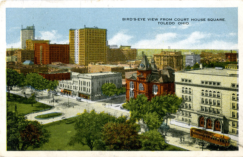 A bird's-eye view of Toledo from Courthouse Square.