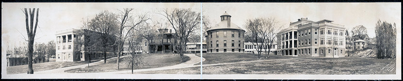 Worcester Memorial Hospital (Belmont Hospital), ca. 1910. Built in 1896 as the Board of Health's Isolation Hospital for contagious diseases, separate wards for diphtheria, scarlet fever, and tuberculosis were added over the years.  The hospital had a normal capacity of 130 beds, with room for many more cases in times of emergency.