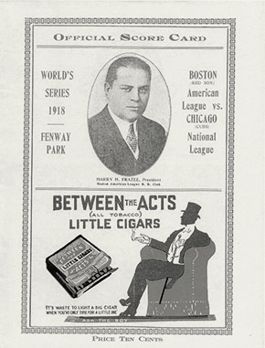 Official score card for the famous 1918 World Series between the Boston Red Sox and the Chicago Cubs.  The series was played in early-September because of the war, as Boston's influenza epidemic situation worsened dramatically.  The Red Sox won, a feat they wouldn't repeat for another 86 years.