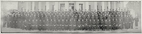 First Naval District Cadet School, Harvard University, November 7, 1917.  A year later, cadets such as these would find themselves in the midst of the Boston area's terrible influenza epidemic.