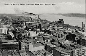 The view from Detroit's Dime Bank Building (now known as Chrysler House), with the Detroit River and Belle Isle in the distance.