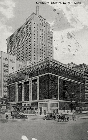 Detroit's Orpheum Theatre, located at the corner of Lafayette and Shelby Streets. The theater had a seating capacity of 2130 patrons. Like all public venues, it was closed during the epidemic. Known variously as the Orpheum, the Shubert, and the Lafayette during its lifetime, the elaborate Italian Renaissance building was demolished in 1964.