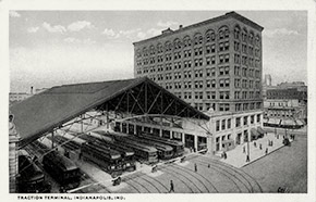 The busy Traction Terminal in Indianapolis. The building served as a hub for the city's interurban network, which served cities as far away as Louisville and Dayton.