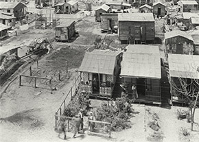 A view of one of New Orleans' shantytowns, ca. 1914-1920.