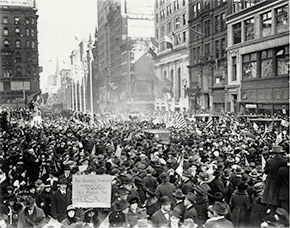 Throngs of New Yorkers fill the streets of Manhattan to celebrate Armistice Day, November 11, 1918.