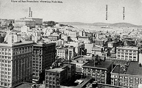 A view of San Francisco, looking north from the Nob Hill neighborhood. To the left is the luxurious and historic Fairmont Hotel, at 950 Mason Street.
