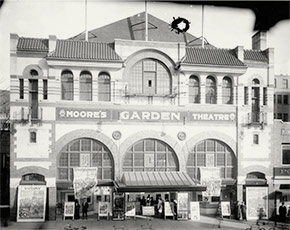 Moore's Garden Theater, at 425-433 9th Street, NW, at the corner of E Street, NW in Washington, DC. Originally the Imperial vaudeville theater, it was renamed in 1913 and became a movie house in 1918. During the epidemic, Moore's was one of many public entertainment venues across the city – and across the United States – that was closed in an attempt to bring about a quicker end to the deadly plague.