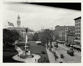 View of Worcester Common and City Hall, from Front Street, ca. 1910-1920.