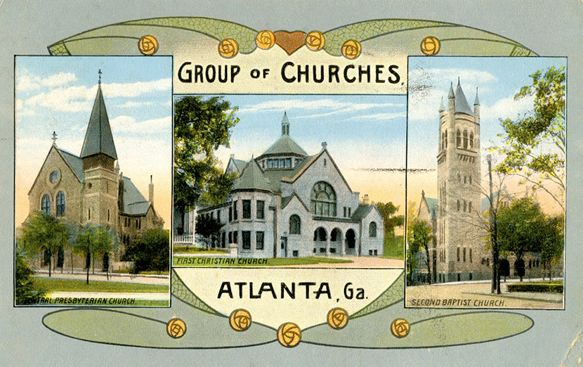 Atlanta's Central Presbyterian Church, First Christian Church, and Second Baptist Church, ca. 1918.  All three – as well as the city's other churches – were closed during the epidemic.