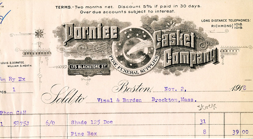 A bill of sale for a pine box casket, most likely used to bury a victim of influenza.