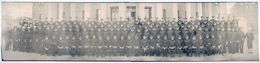 First Naval District Cadet School, Harvard University, November 7, 1918.  A year later, cadets such as these would find themselves in the midst of the Boston area's terrible influenza epidemic.