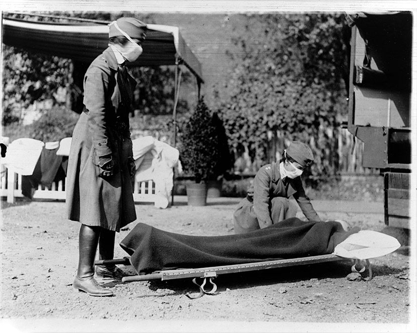 Demonstration at the Red Cross Emergency Ambulance Station in Washington, DC during the influenza epidemic.