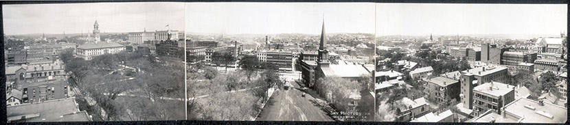 Aerial view of Worcester, from the corner of Franklin and Front, ca. 1910.