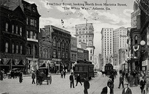 """The White Way"" – Peachtree Street looking north from Marietta Street, ca. 1917."