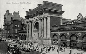 Bustling North Union Station on Causeway Street between Nashua and Haverhill.  The station was erected in 1893 and demolished in 1927.